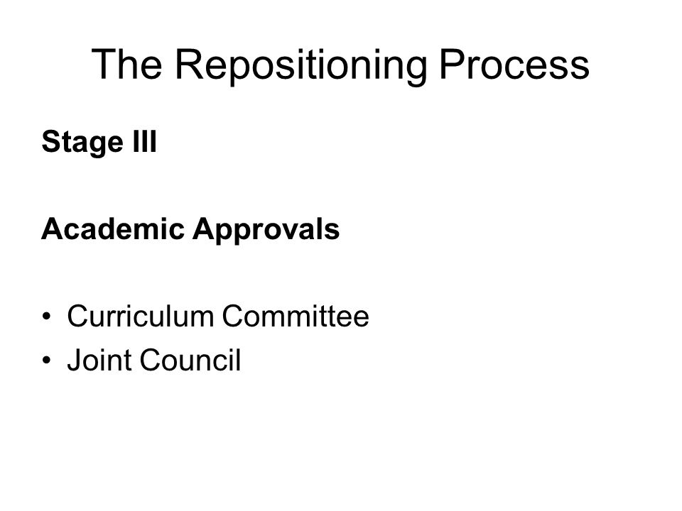The Repositioning Process Stage III Academic Approvals Curriculum Committee Joint Council