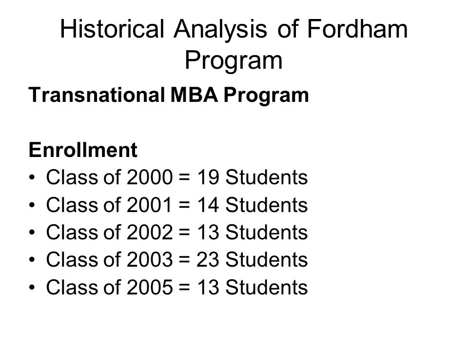 Historical Analysis of Fordham Program Transnational MBA Program Enrollment Class of 2000 = 19 Students Class of 2001 = 14 Students Class of 2002 = 13 Students Class of 2003 = 23 Students Class of 2005 = 13 Students