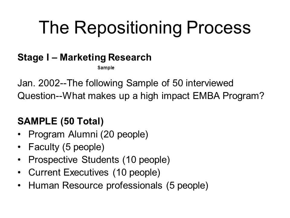 The Repositioning Process Stage I – Marketing Research Jan.