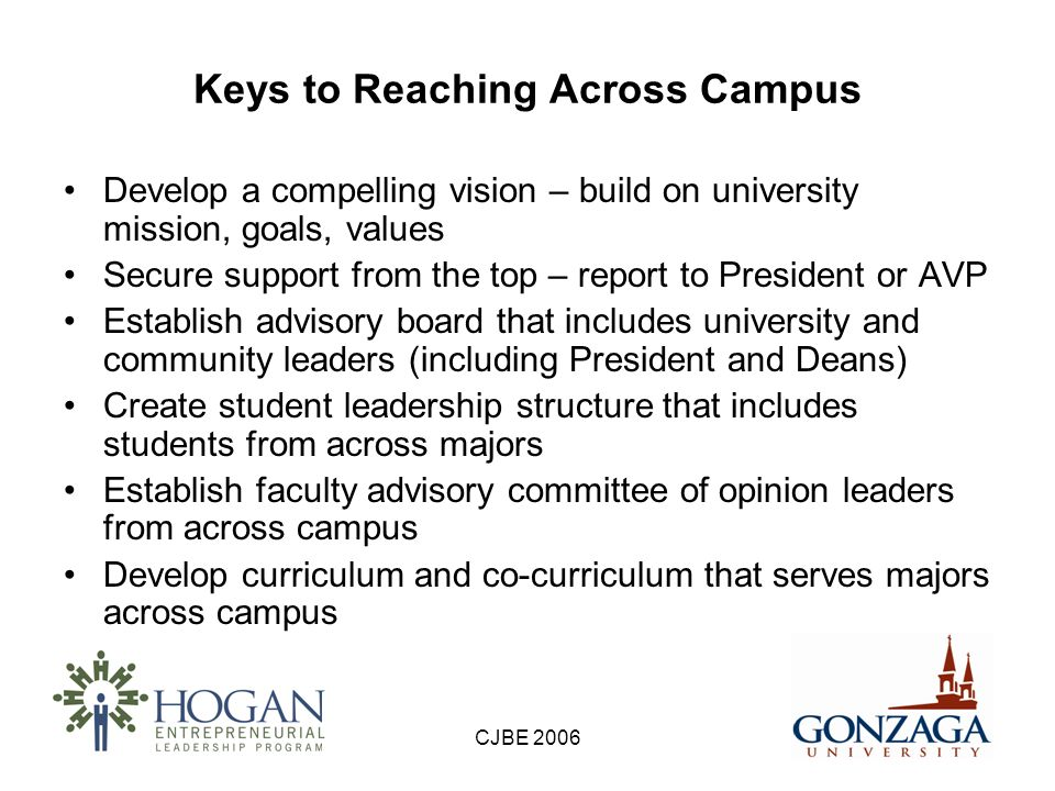 CJBE 2006 Keys to Reaching Across Campus (cont.) Collaborate with other academic departments on curriculum (e.g., senior design projects in engineering) Add value through joint projects that benefit the whole institution or community –Proactive collaboration with admissions, registrar, university relations, and other key university departments –Connect students and faculty with the community – add value through internships and projects –Guest speakers and networking events –New venture lab or incubator –Business plan competitions –Community service projects –Facilitate technology transfer and commercialization
