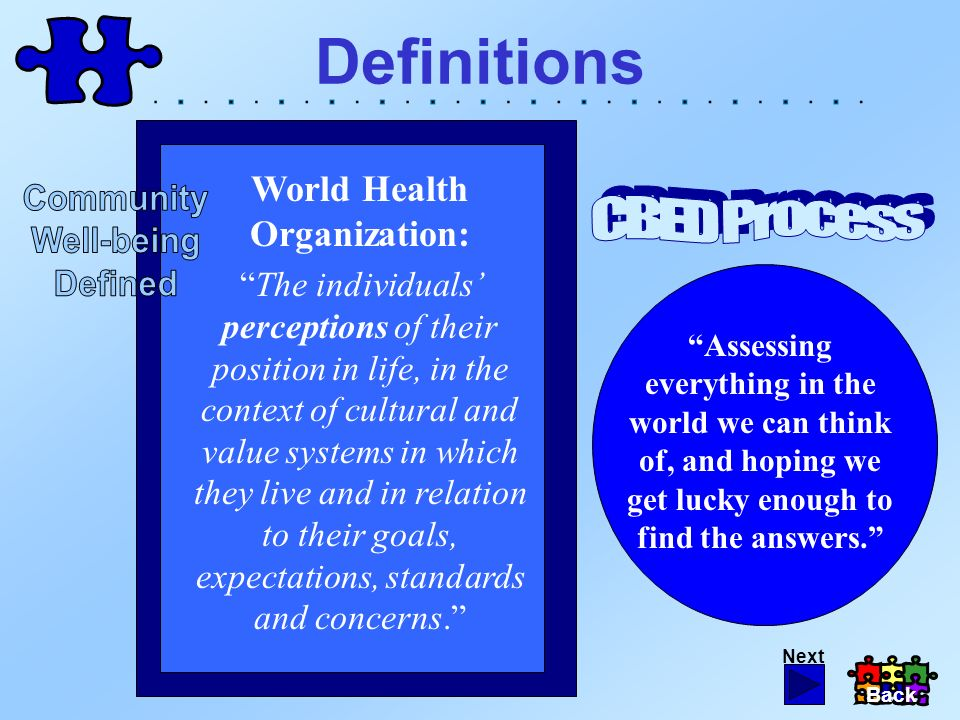 Definitions Assessing everything in the world we can think of, and hoping we get lucky enough to find the answers. World Health Organization: The indi