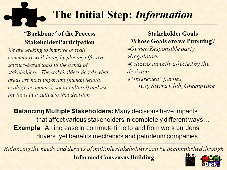 The Initial Step: Information Balancing Multiple Stakeholders: Many decisions have impacts that affect various stakeholders in completely different ways… Example: An increase in commute time to and from work burdens drivers, yet benefits mechanics and petroleum companies.