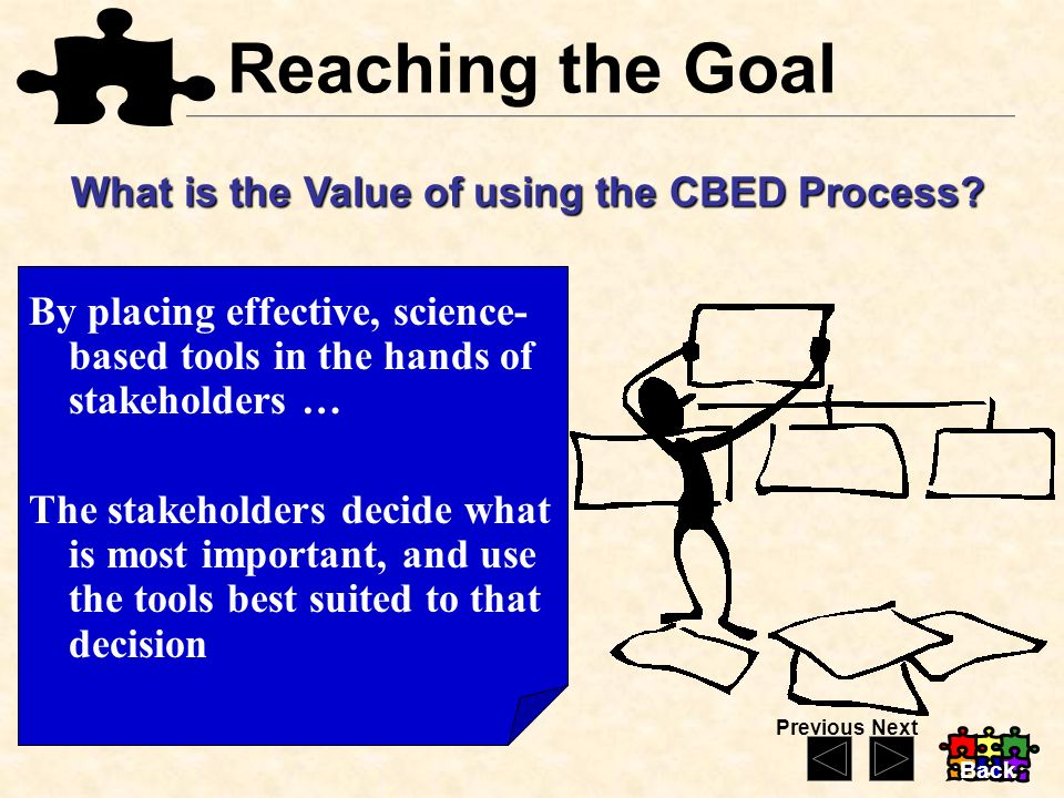 Reaching the Goal What is the Value of using the CBED Process? By placing effective, science- based tools in the hands of stakeholders … The stakehold