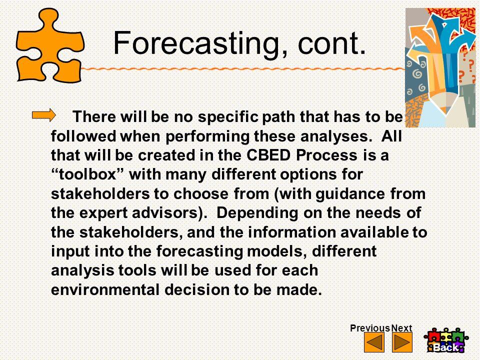 Forecasting, cont.