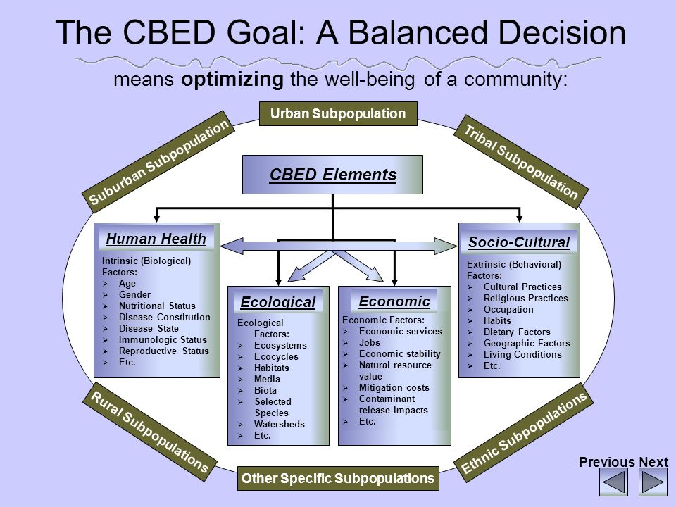 The CBED Goal: A Balanced Decision means optimizing the well-being of a community: CBED Elements Urban Subpopulation Human Health Intrinsic (Biologica