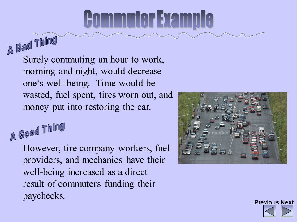 Surely commuting an hour to work, morning and night, would decrease ones well-being. Time would be wasted, fuel spent, tires worn out, and money put i