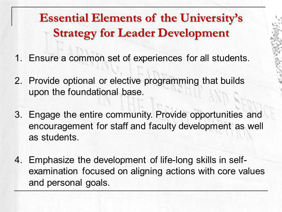 Essential Elements of the Universitys Strategy for Leader Development 1.Ensure a common set of experiences for all students.