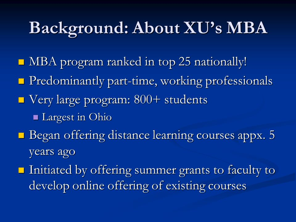 Background: About XUs MBA MBA program ranked in top 25 nationally.