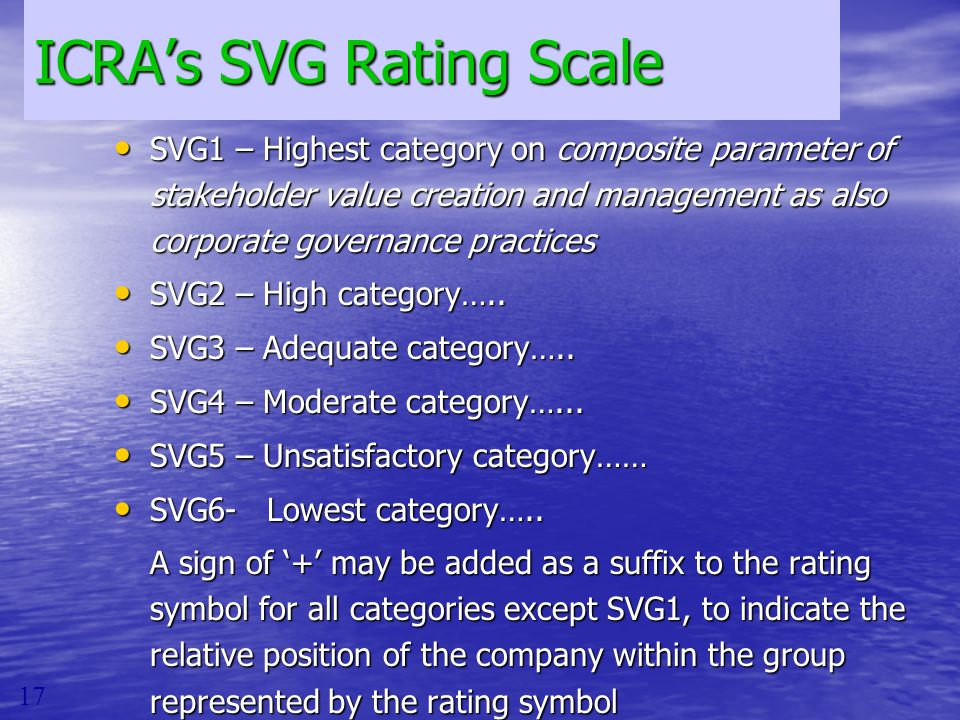 ICRAs SVG Rating Scale SVG1 – Highest category on composite parameter of stakeholder value creation and management as also corporate governance practi