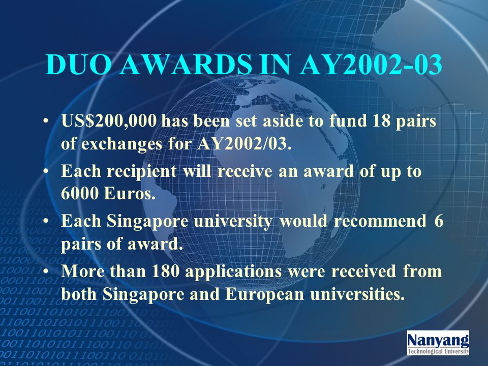 DUO AWARDS IN AY US$200,000 has been set aside to fund 18 pairs of exchanges for AY2002/03.