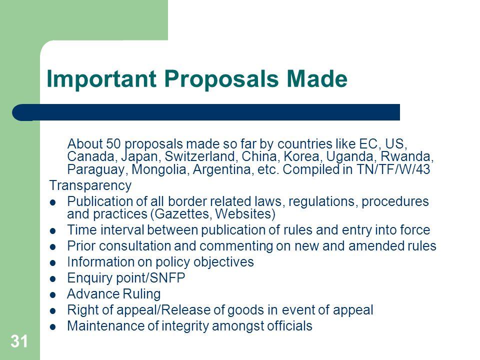 31 Important Proposals Made About 50 proposals made so far by countries like EC, US, Canada, Japan, Switzerland, China, Korea, Uganda, Rwanda, Paragua