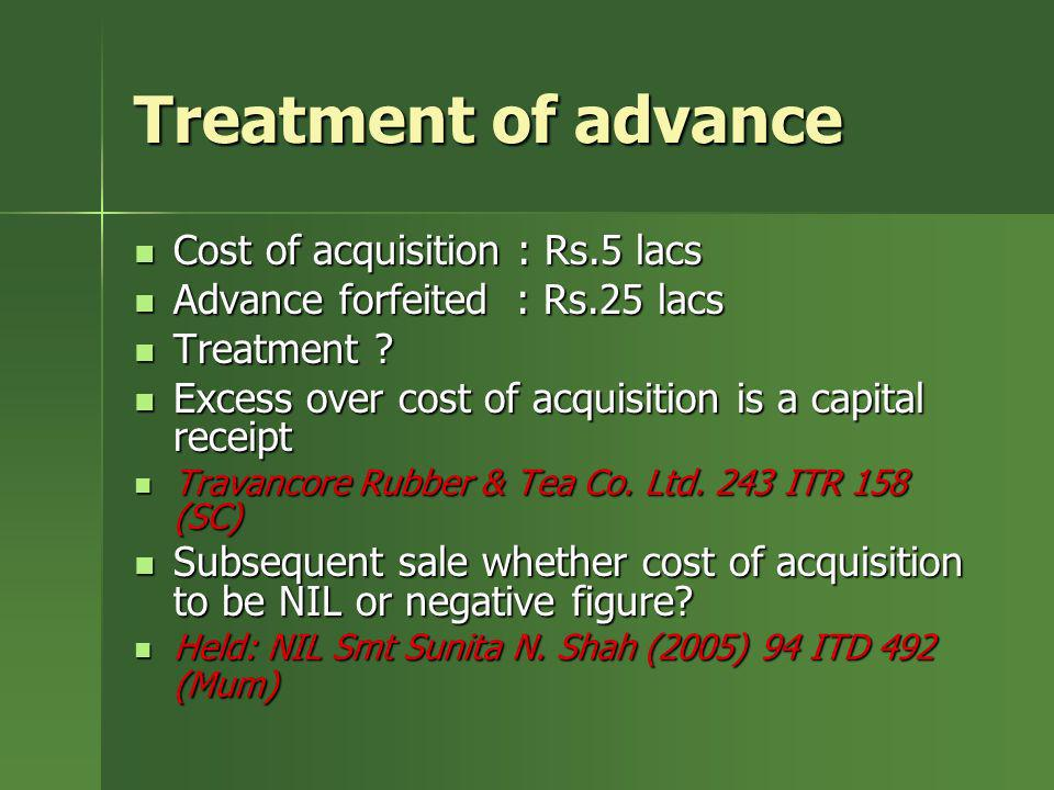 Treatment of advance Cost of acquisition : Rs.5 lacs Cost of acquisition : Rs.5 lacs Advance forfeited : Rs.25 lacs Advance forfeited : Rs.25 lacs Tre