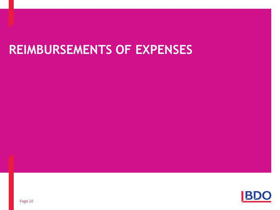 Page 20 REIMBURSEMENTS OF EXPENSES