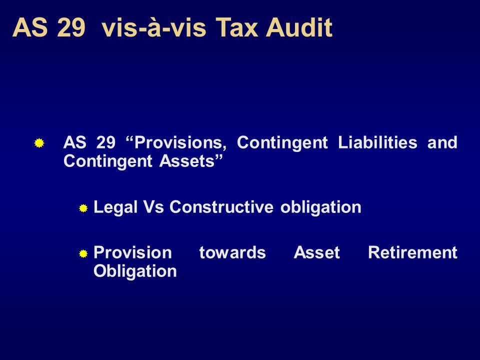 AS 29 vis-à-vis Tax Audit AS 29 Provisions, Contingent Liabilities and Contingent Assets Legal Vs Constructive obligation Provision towards Asset Retirement Obligation