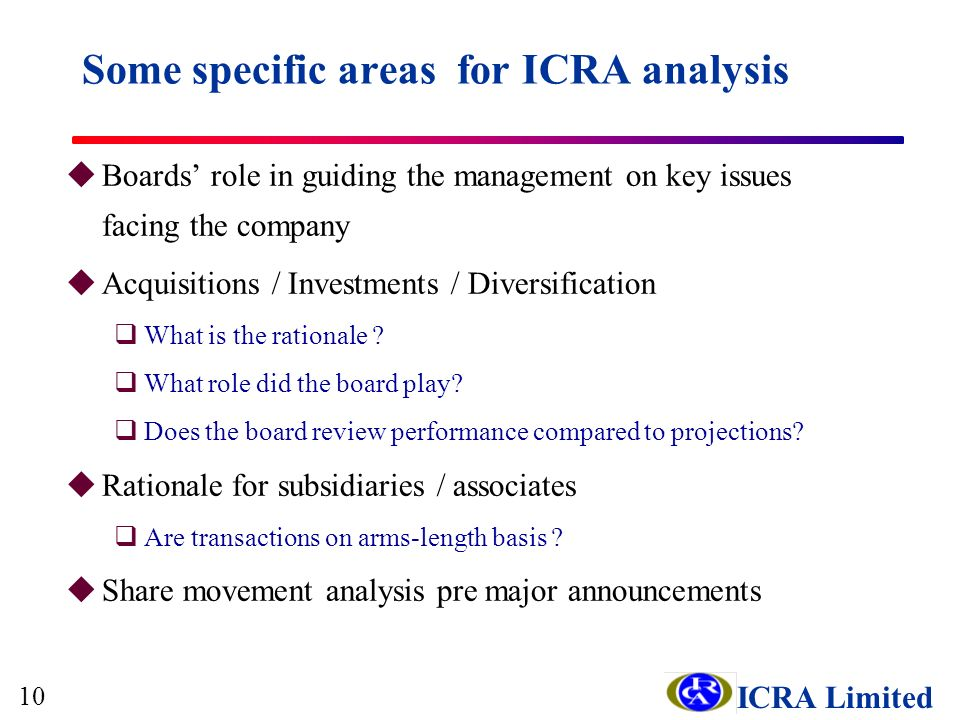 ICRA Limited Some specific areas for ICRA analysis uBoards role in guiding the management on key issues facing the company uAcquisitions / Investments / Diversification qWhat is the rationale .