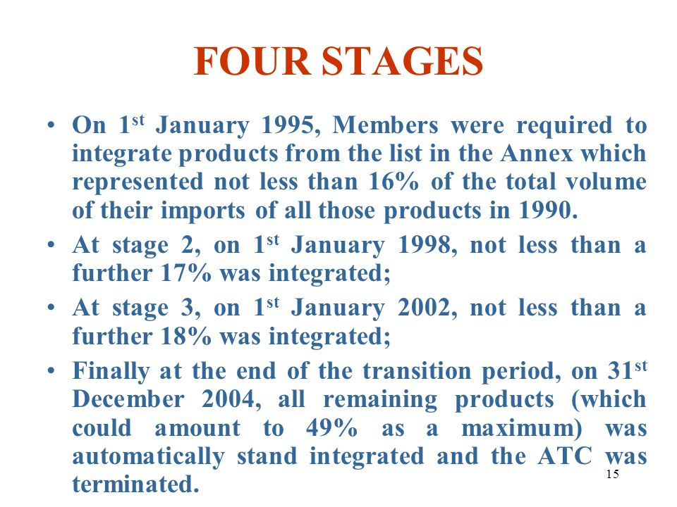 15 FOUR STAGES On 1 st January 1995, Members were required to integrate products from the list in the Annex which represented not less than 16% of the