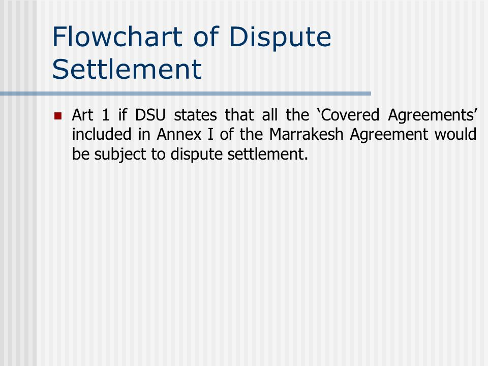 Flowchart of Dispute Settlement Art 1 if DSU states that all the Covered Agreements included in Annex I of the Marrakesh Agreement would be subject to dispute settlement.
