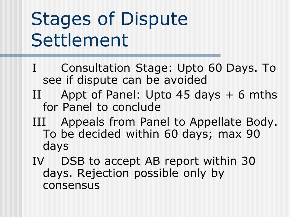 Stages of Dispute Settlement IConsultation Stage: Upto 60 Days.