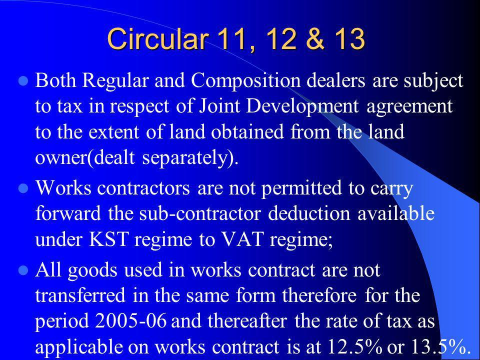 Circular 11, 12 & 13 Both Regular and Composition dealers are subject to tax in respect of Joint Development agreement to the extent of land obtained