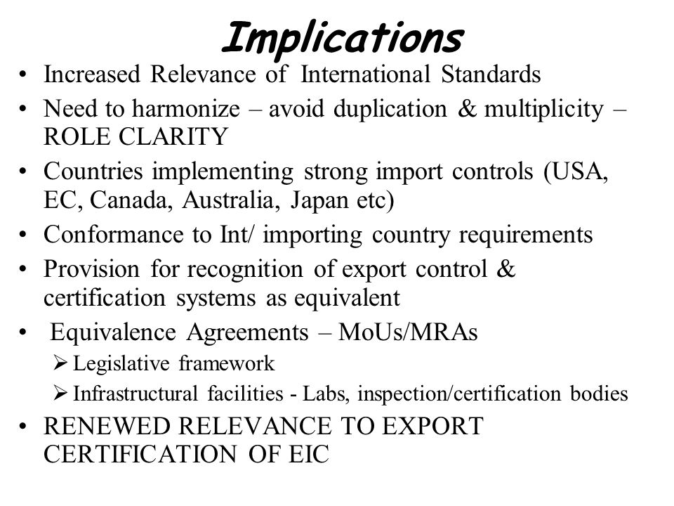 Implications Increased Relevance of International Standards Need to harmonize – avoid duplication & multiplicity – ROLE CLARITY Countries implementing