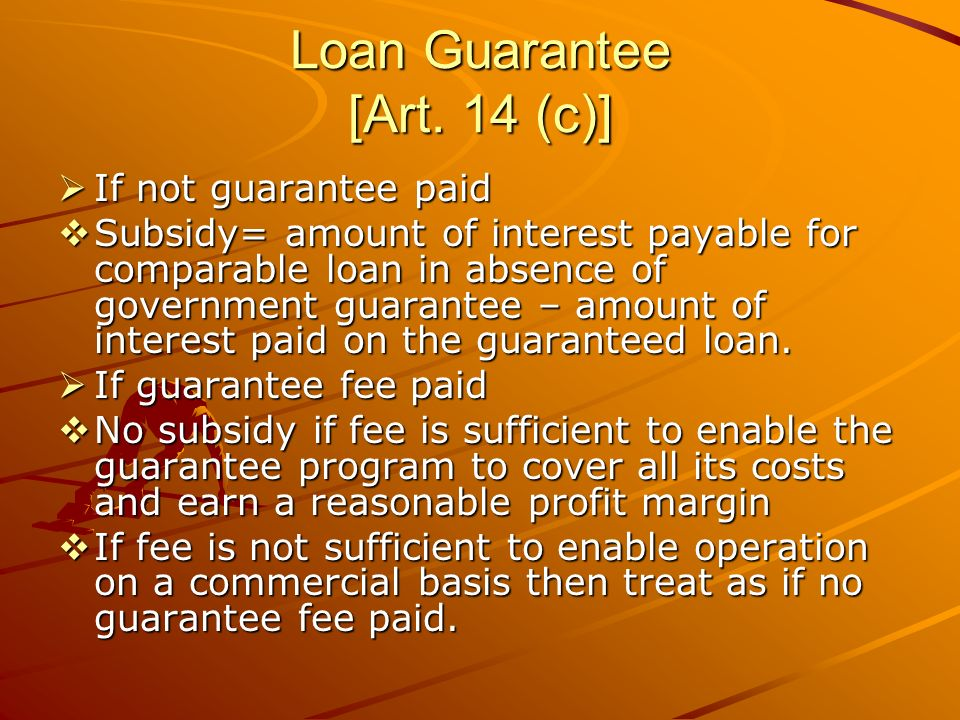 Loan Guarantee [Art. 14 (c)] If not guarantee paid If not guarantee paid Subsidy= amount of interest payable for comparable loan in absence of governm