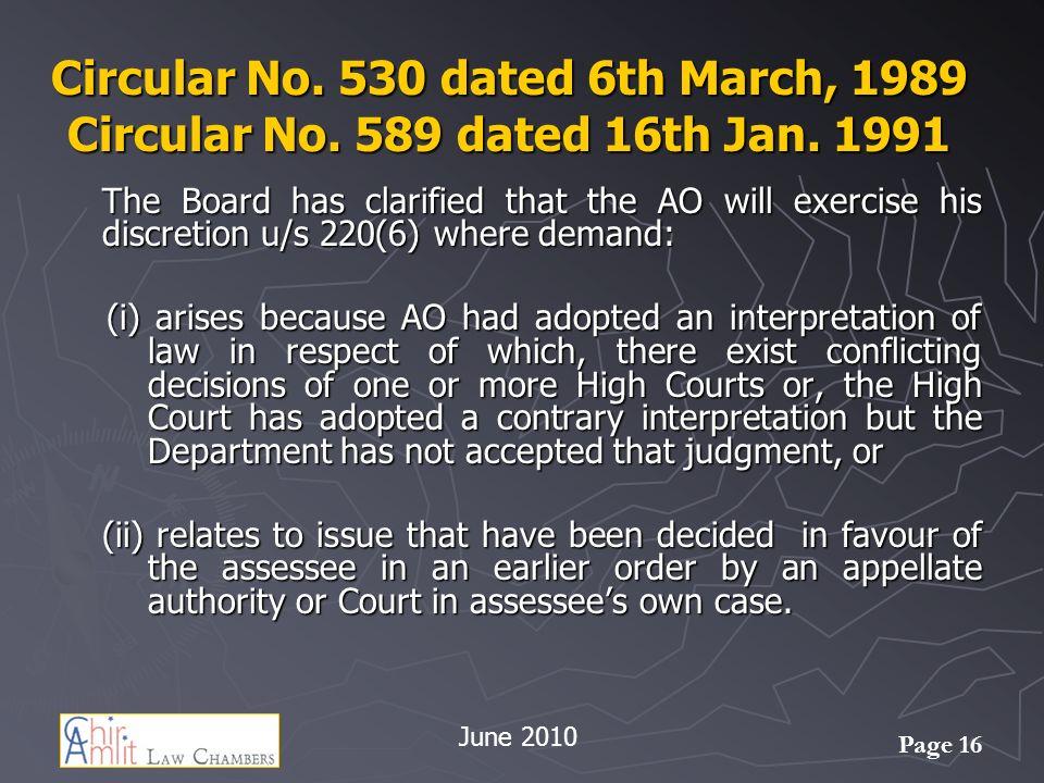 Page 16 Circular No.530 dated 6th March, 1989 Circular No.