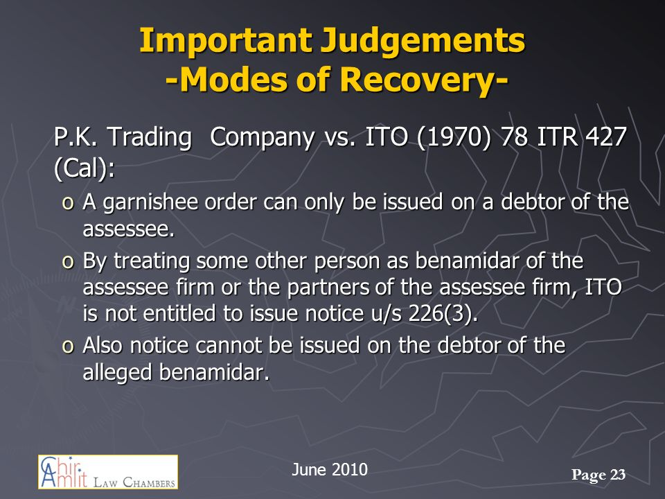 Page 23 Important Judgements -Modes of Recovery- P.K.