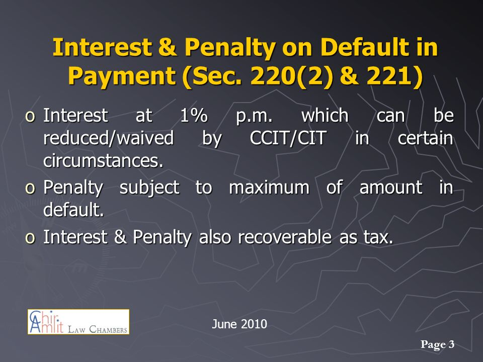 Page 3 Interest & Penalty on Default in Payment (Sec.