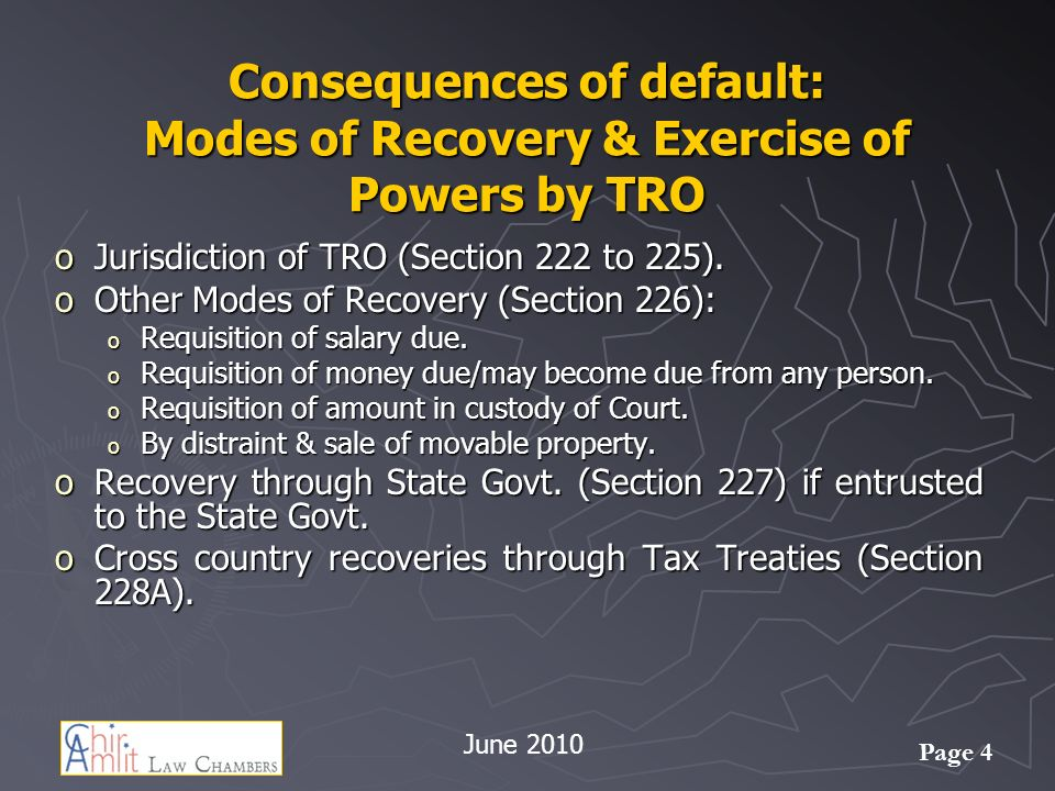 Page 4 Consequences of default: Modes of Recovery & Exercise of Powers by TRO oJurisdiction of TRO (Section 222 to 225).