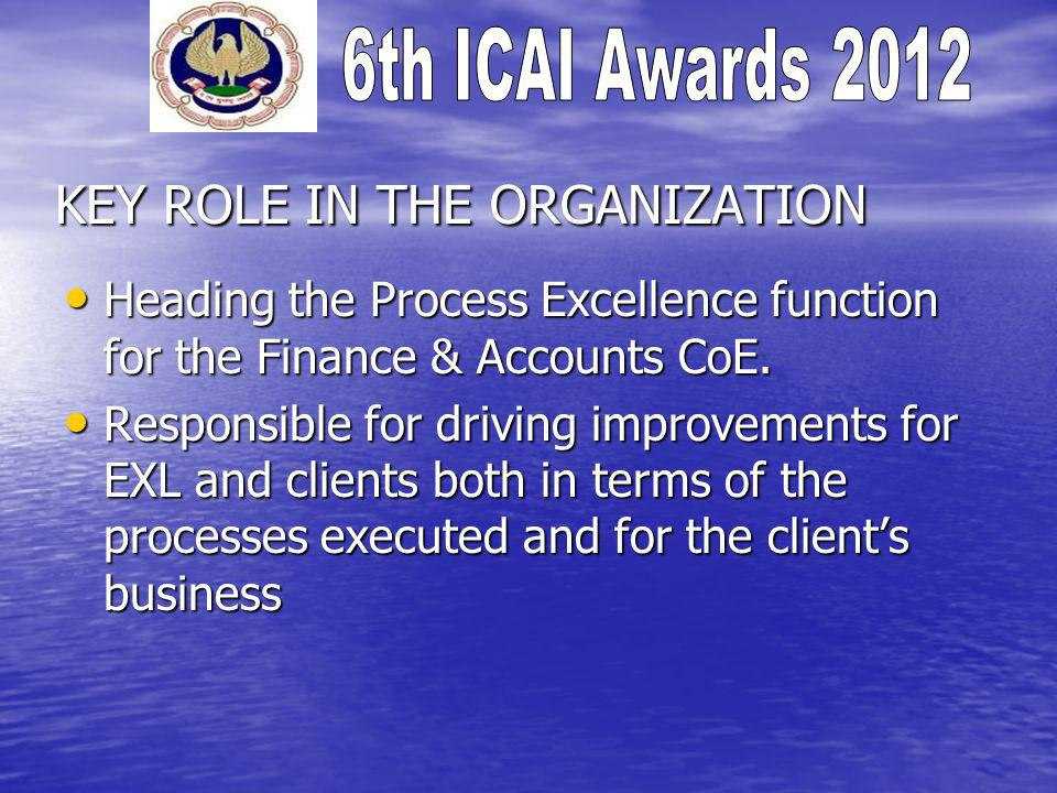 KEY ROLE IN THE ORGANIZATION Heading the Process Excellence function for the Finance & Accounts CoE.