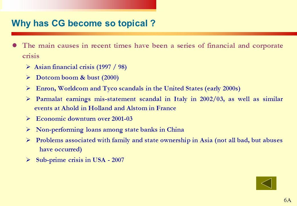 20 Why has CG become so topical ? The main causes in recent times have been a series of financial and corporate crisis Asian financial crisis (1997 /