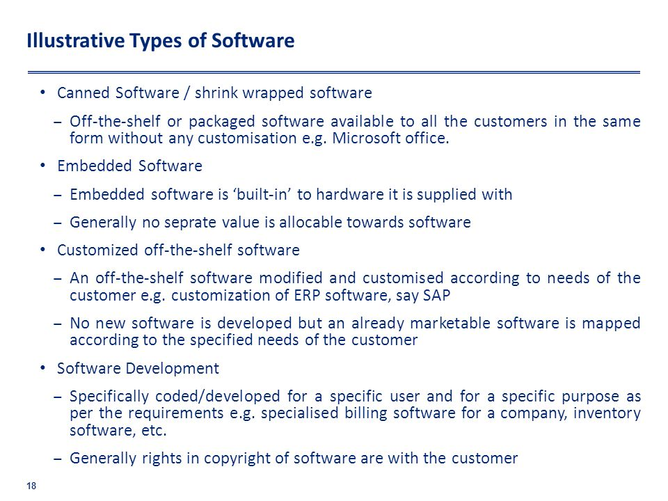 Illustrative Types of Software Canned Software / shrink wrapped software Off-the-shelf or packaged software available to all the customers in the same