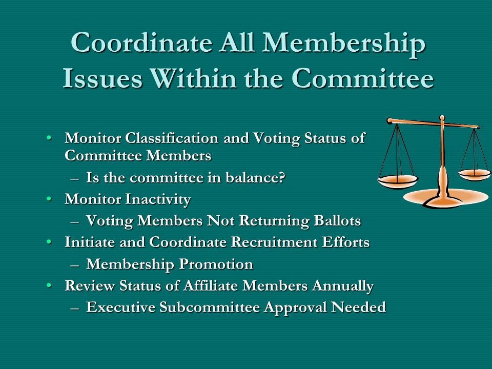 Coordinate All Membership Issues Within the Committee Monitor Classification and Voting Status of Committee MembersMonitor Classification and Voting Status of Committee Members –Is the committee in balance.