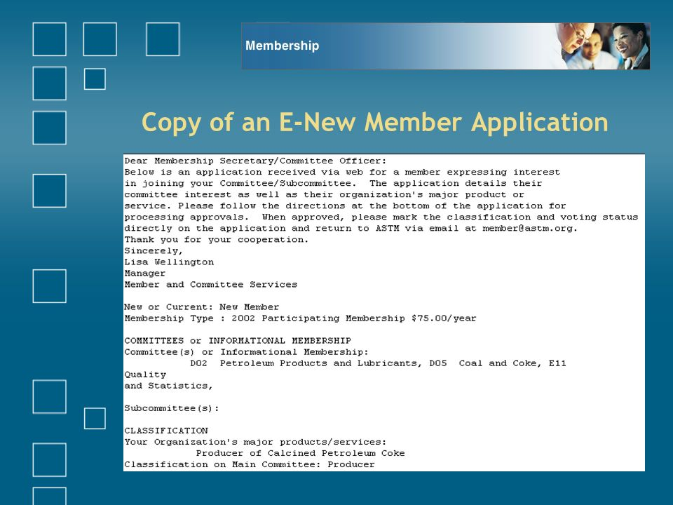 Copy of an E-New Member Application