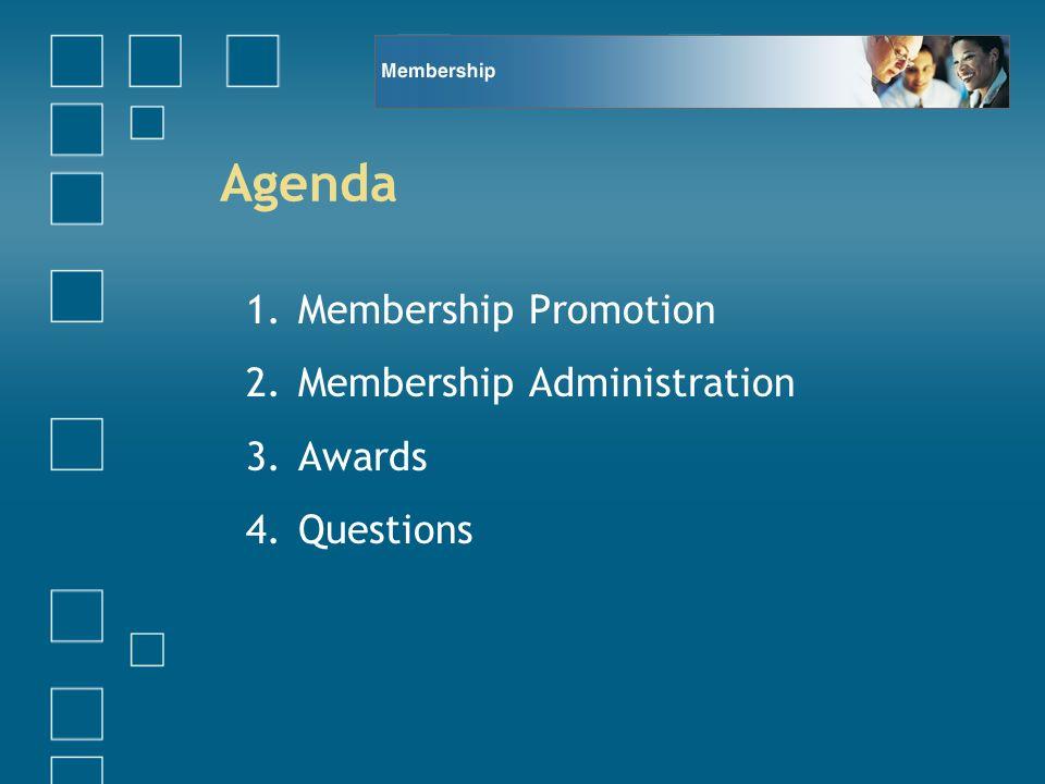 Agenda 1.Membership Promotion 2.Membership Administration 3.Awards 4.Questions
