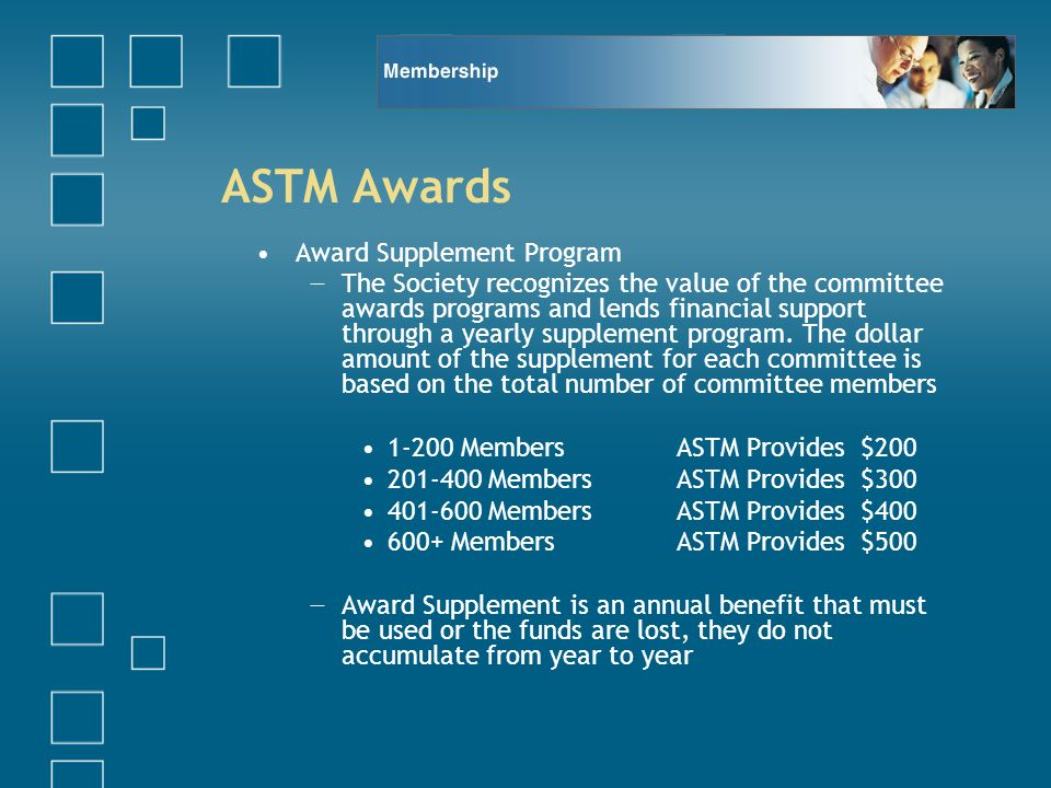 ASTM Awards Award Supplement Program The Society recognizes the value of the committee awards programs and lends financial support through a yearly supplement program.
