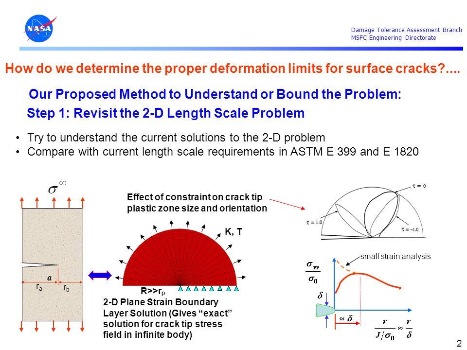 Damage Tolerance Assessment Branch MSFC Engineering Directorate 13 Point (x e,B) m Point (x, y ) r a a B Point (x int,0) 2c r b 20 node bricks WARP3D analysis Linear Plus Power Law Matl Model a/B = 0.50, a/c = 1.0 SC(T) FEMs