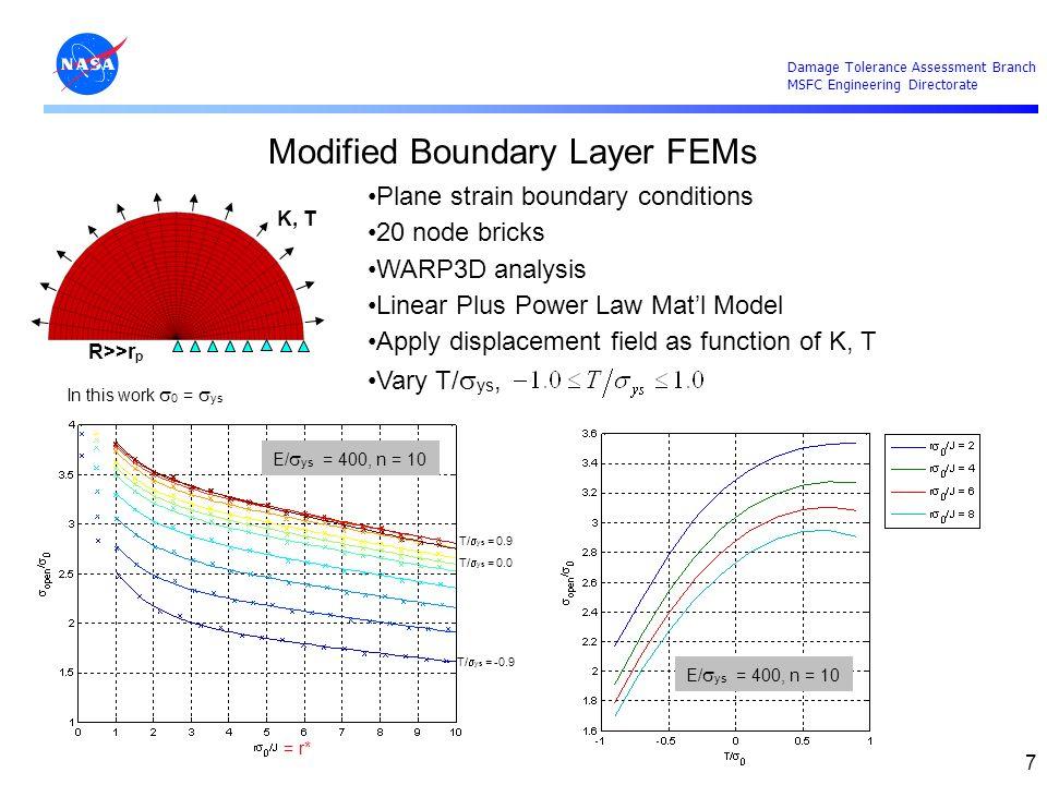 Damage Tolerance Assessment Branch MSFC Engineering Directorate 7 Modified Boundary Layer FEMs Plane strain boundary conditions 20 node bricks WARP3D