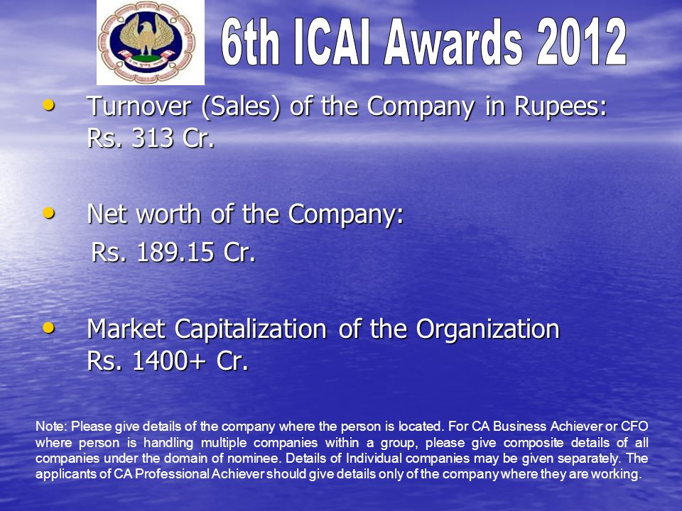 Turnover (Sales) of the Company in Rupees: Rs. 313 Cr.