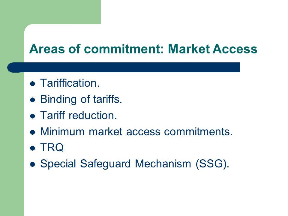 Areas of commitment: Market Access Tariffication. Binding of tariffs. Tariff reduction. Minimum market access commitments. TRQ Special Safeguard Mecha