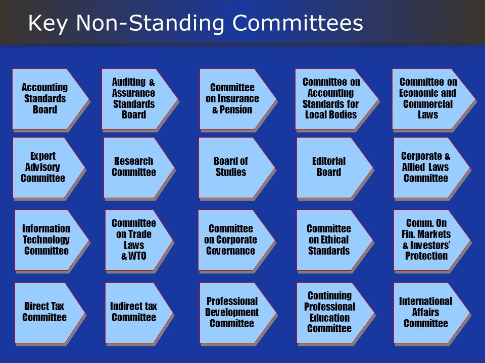 Key Non-Standing Committees Committee on Ethical Standards Comm. On Fin. Markets & Investors Protection Direct Tax Committee Accounting Standards Boar