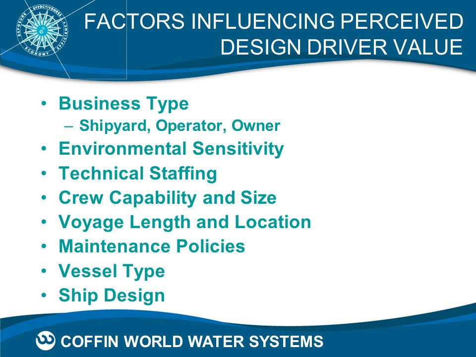 COFFIN WORLD WATER SYSTEMS FACTORS INFLUENCING PERCEIVED DESIGN DRIVER VALUE Business Type –Shipyard, Operator, Owner Environmental Sensitivity Techni