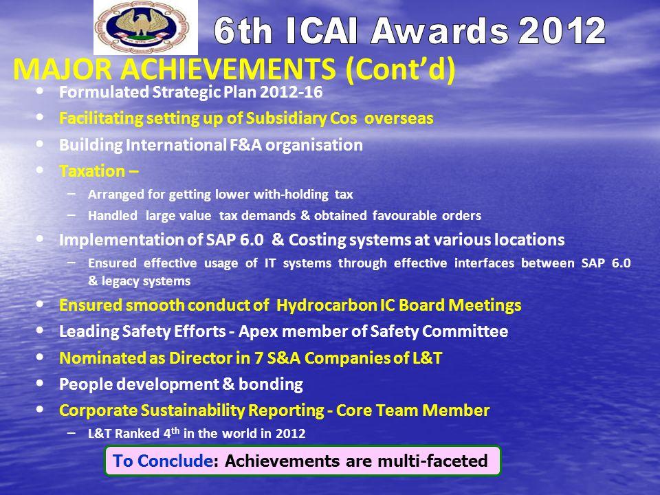 MAJOR ACHIEVEMENTS (Contd) Formulated Strategic Plan 2012-16 Facilitating setting up of Subsidiary Cos overseas Building International F&A organisatio
