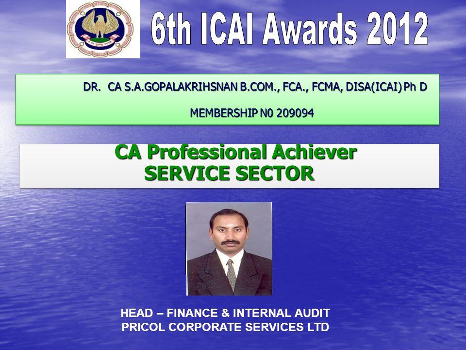 DR. CA S.A.GOPALAKRIHSNAN B.COM., FCA., FCMA, DISA(ICAI) Ph D MEMBERSHIP N0 209094 DR.