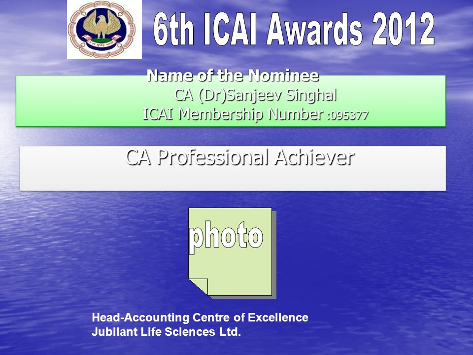 Name of the Nominee CA (Dr)Sanjeev Singhal ICAI Membership Number :095377 Name of the Nominee CA (Dr)Sanjeev Singhal ICAI Membership Number :095377 CA Professional Achiever CA Professional Achiever Head-Accounting Centre of Excellence Jubilant Life Sciences Ltd.