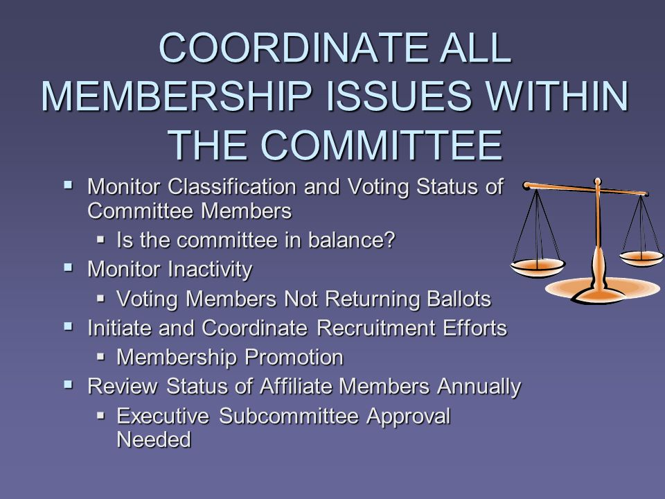 COORDINATE ALL MEMBERSHIP ISSUES WITHIN THE COMMITTEE Monitor Classification and Voting Status of Committee Members Monitor Classification and Voting