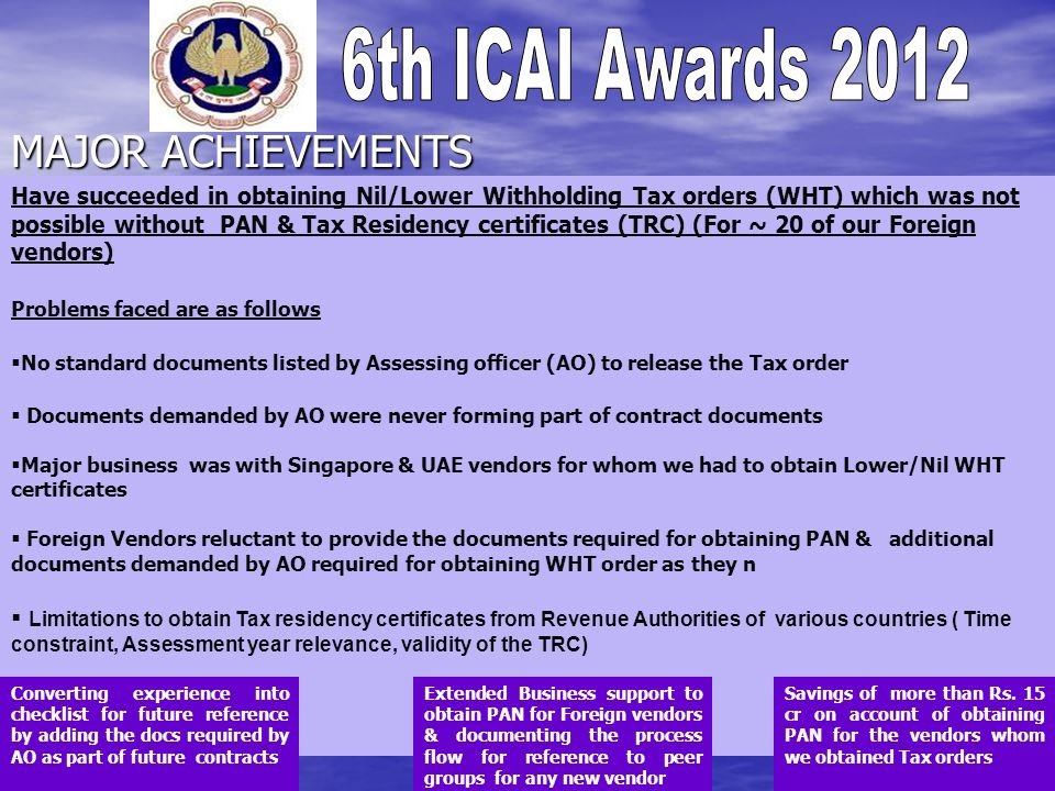 MAJOR ACHIEVEMENTS The achievements can be maximum of 2 slides in bullet points The achievements can be maximum of 2 slides in bullet points Note- Ple