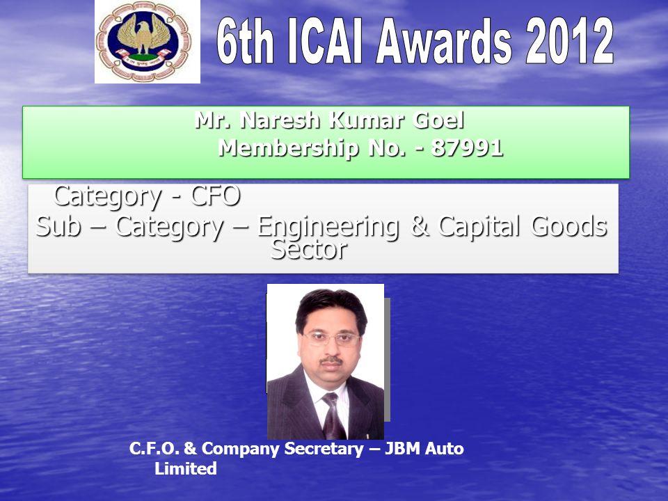 Mr. Naresh Kumar Goel Membership No. - 87991 Mr. Naresh Kumar Goel Membership No. - 87991 Category - CFO Category - CFO Sub – Category – Engineering &