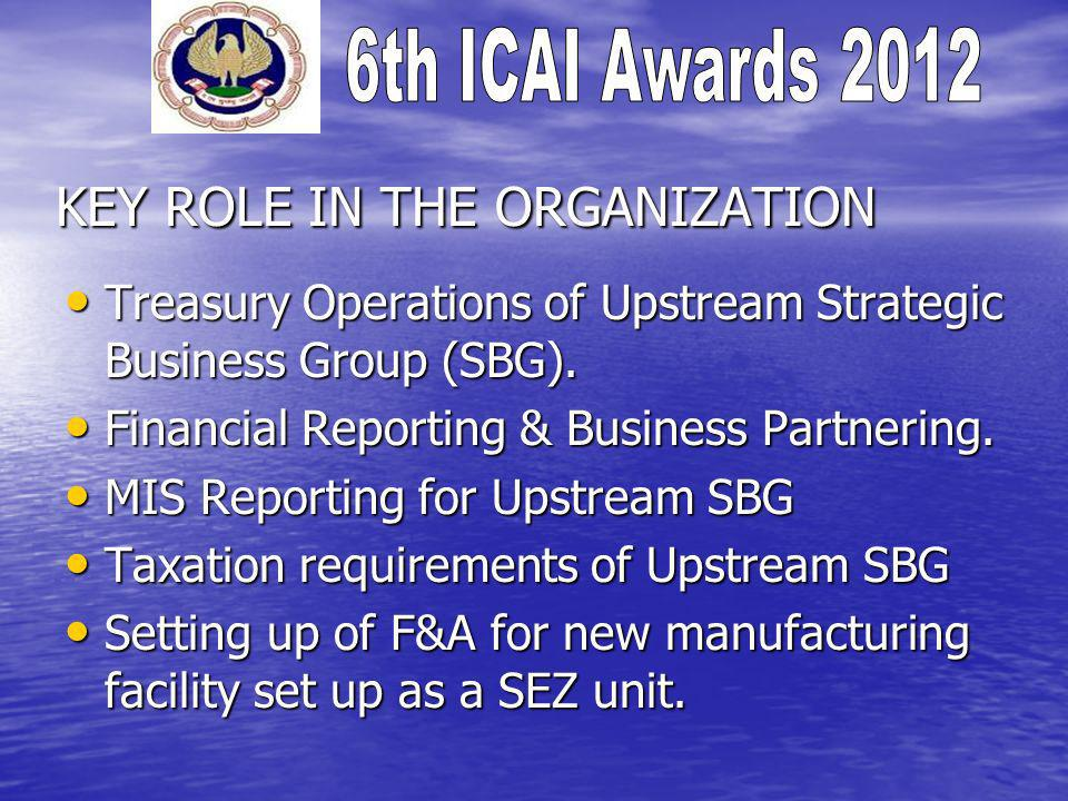 KEY ROLE IN THE ORGANIZATION Treasury Operations of Upstream Strategic Business Group (SBG).