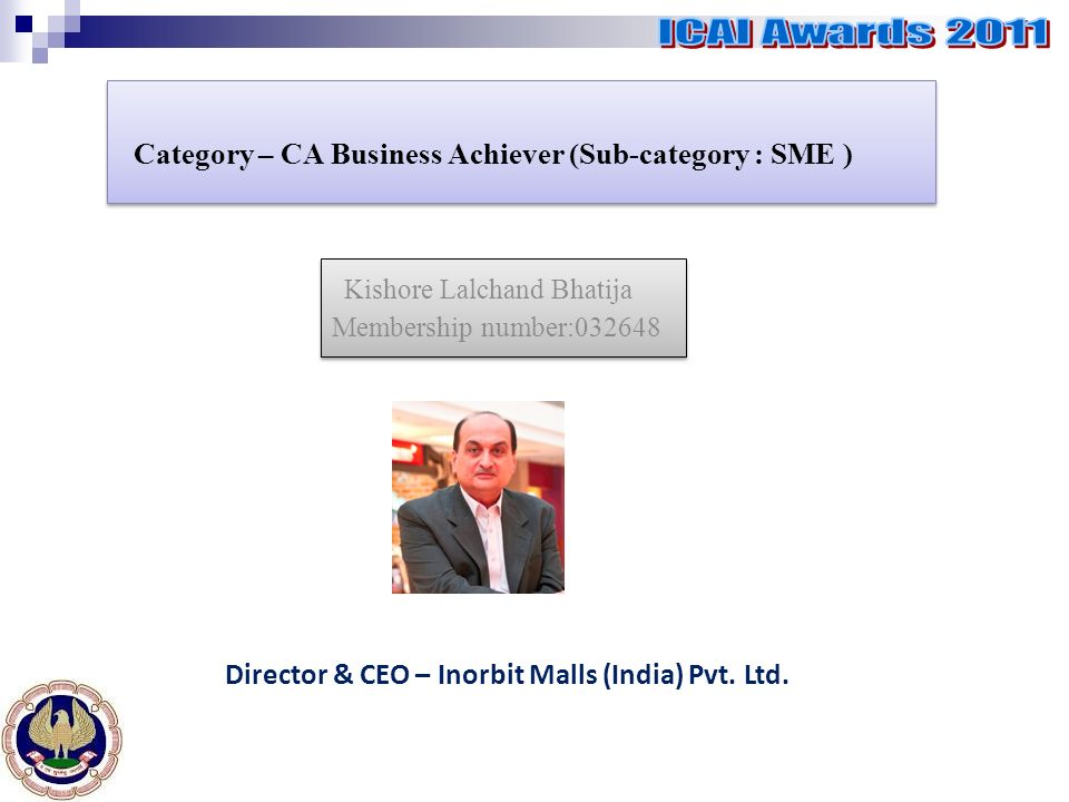 Category – CA Business Achiever (Sub-category : SME ) Kishore Lalchand Bhatija Membership number:032648 Kishore Lalchand Bhatija Membership number:032648 Director & CEO – Inorbit Malls (India) Pvt.